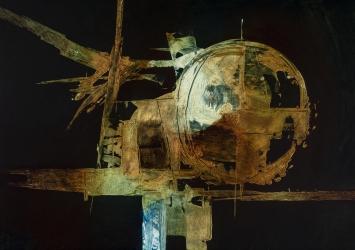 Luigi Pericle, Ohne Titel (Matri Dei d.d.d.), 1966, Mischtechnik auf Holzfaserplatte, Sammlung Biasca-Caroni, Foto ©Marco Beck Peccoz