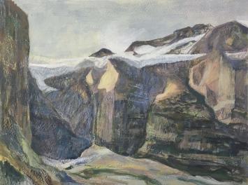 Marianne Badertscher, «Schwebender Gletscher», 2018 300 x 400 mm, Pigment/Ei-Öl über Aquarell auf Papier. Foto: Marianne Badertscher