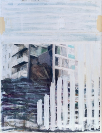 Oliver Krähenbühl, ohne Titel, 2019. Foto: Oliver KrähenbühlÖl und Aquarell auf Papier und Baumwolle, 125 x 95 cm