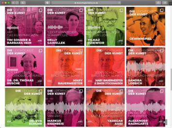 Podcast ‹Die Leichtigkeit der Kunst› von Claudia Linzel und Rabea Logen, Screenshot der Webseite (24.2.2021)