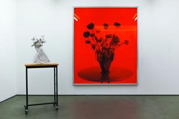 Ausstellungsansicht mit Untitled Flowers 2013 und Nine White Sculptures 2015, Foto:Camillo Paravicini