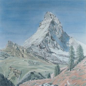 Matterhorn, 2006. Aquarell auf Baumwolle, rechts unten signiert und datiert: R. Rothen 2006. 80 x 80
