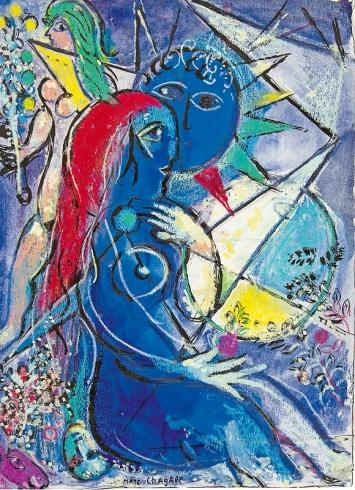 Marc Chagall · Création No 2, Série Verve, 1956–1960, Gouache, Pastell und Tusche, 36x26,3cm, Sammlung EWK ©ProLitteris