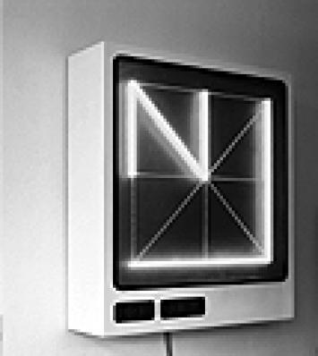 Dimitri Bruni/Manuel Krebs: Norm, Sign Generator 1.0/EXT, 2003, Eisen, Plexiglas, Plastik, LCD-Anzeige, Elektronik, 113 x 100 30 cm