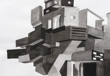 Cécile Hummel, Basel, O.T., Architektur, 2013, Gouache auf Papier, 33 x 48 cm