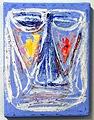 Josef Eagan · Hostage, 2004, 24 x 18 x 2 cm, Farbe und Sand auf Leinwand, © Annemarie Verna Galerie