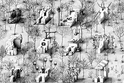 Paul Noble · Ye olde Ruin, Pencil on paper, 2003?04, 426 x 732 cm, Courtesy Maureen Paley Interim Art