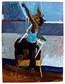Lea Schaltenbrand · Turmbau in blau, 2004, Tempera auf Leinwand, 160 x 120
