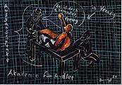 Jörg Immendorff · Akademie für Adler, 1989, 10 Blätter, Tusche auf Karton, Courtesy Galerie Michael Werner, © Jörg Immendorff