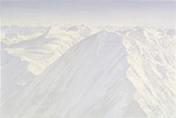 Inge Krause · glänzend (Berge), 2005, Pastellkreide und Acrylfarbe auf Leinwand, 60 x 90 cm