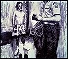 Jiri Georg Dokupil · Illegal Immigrant - coming to Germany, 1993, aus der Serie Emigranten, Kerzenruss auf Leinwand, Courtesy Galerie Bischofberger, Zürich, © ProLitteris, Zürich