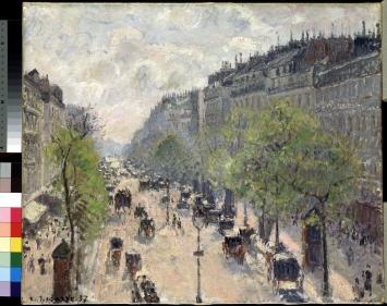 Camille Pissarro, Boulevard Montmartre, Frühling, 1897, Öl auf Leinwand, 46 x 55 cm, Museum Langmatt
