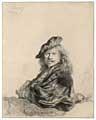 Rembrandt · Selbstbildnis, auf eine Steinbrüstung lehnend, 1639