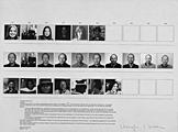 Douglas Huebler · Variable Piece n° 44 (global), 1971, offset, photographies n/b et couleur, portraits de Darcy Huebler (ex. n° 9), portraits de Adriaan van Raveisteijn (ex. n° 10) portraits de Nicole Daled (ex. n° 11) 458 x 610 mm, Genève, Cabinet des estampes (dépôt vbvr)