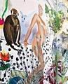 3 Hamburger Frauen · The Paradise City, 2006, Wandmalerei im Kunsthaus Baselland, Courtesy the artists, Foto: Serge Hasenböhler, Basel. In wildwuchernden phantasievollen Bildwelten präsentieren sich die Künstlerinnen erstmals nackt und deklinieren dabei die verschiedensten Konnotationen von Weiblichkeit und Natur in humoristischer Weise.
