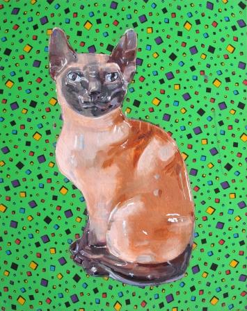Tom Fellner, «Katze 1», 2016. Foto: Tom FellnerTempera und Öl auf bedrucktem Stoff, 100 x 80 cm