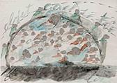 Mario Merz · Objet cache-toi, 1970, Kittmasse, Bleistift, schwarze Kreide und Wasserfarbe auf Papier, 47.5 x 66 cm, E. & F. Buchmann Lugano, Foto: Studio Fotografico Pedroli © Archivio Merz, Torino