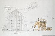 Pierre Oréfice & François Delarozière · Elefant, Île de Nantes, 2007, Höhe 12 m, Gewicht 40 Tonnen, trägt 35 Personen, mit Trompete und Staubgebläse