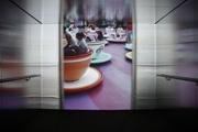 SONJA FELDMEIER · Neverending. 2005, Videoprojektion (61') in nachgebauter Liftkabine. Still