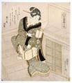 Utagawa Sadakage · Eine Frau mit Laterne und Schachtel, Japan, um 1825, Farbholzschnitt. Foto: Rainer Wolfsberger