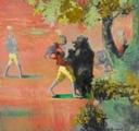 Rachel Lumdsden · Bird Wars: Highway Gamblers, 2008, Oel auf Leinwand, 1,90 x 2,10 cm