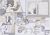 Valentin Magaro · Tusche auf Papier/Collage, 84 x 119 cm, 2009
