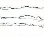 Kerstin Ergenzinger · Horizont in 3 Distanzen, Djebel Saghro, 2008, Bleistift, Tusche auf Papier, 18 x 15 cm
