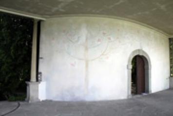 Déjàvu. Auf der Suche nach der verlorenen Gegenwart», 2009, Wandbild, Gartenpavillon/Schlossterrasse, Forschungsanstalt Agroscope Changins-Wädenswil, Detail.Foto: Chantal Romani