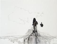 Michael Günzburger · Einfache Wolke, 2009, Tusche, Faden, Acryl auf Karton, 61,5 x 80 cm