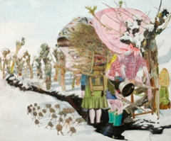 Leopold Rabus . La bergere et le bucheron, 2006, Oel auf Leinwand, 200 x 240 cm, Kunstsammlung Julius Baer, Zuerich.