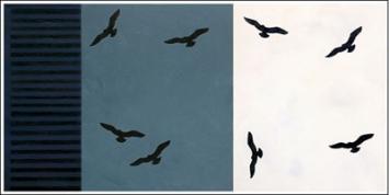 Agnes Wyler . Nuages, 2010, Oel auf Leinwand, Triptychon, 90 x 175 cm