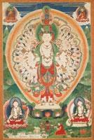 Avalokiteshvara mit elf Köpfen und tausend Armen, Bhutan, 19. Jh, Tusche und Mineralfarben auf Baumwolle