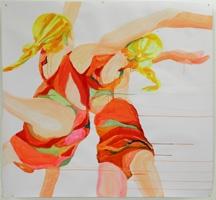 Alexandra Maurer · aus: Contremouvements, 2010 (Einzelarbeiten in räumlichem Zusammenhang), Acryl auf Papier, je ca. 133 x 99 und 133 x 227 cm