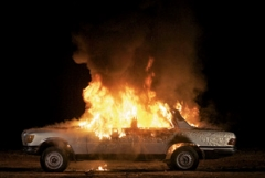 Superflex · Burning Car, 2008. Courtesy Nils Stærk, Museum Tinguely