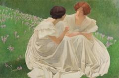 Ernest Biéler · Die zwei Weissen (Studie für die Dekorationen der Villa Kaeser in Genf), 1898, Tempera auf Papier, auf Leinwand, 111 x 165 cm
