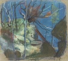 Albert Welti · Felsenschlucht mit Bach, um 1900, Pastell, 18,1 x 20,8 cm Schaffhausen, Museum zu Allerheiligen