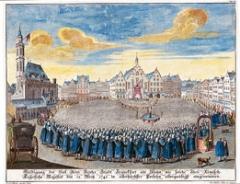 Johann Georg Funck, Michael Rössler · Die Huldigung der Bürgerschaft auf dem Römerberg, Frankfurt/M, 1742 © Historisches Museum Frankfurt/M