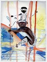 Monika Dillier · Lemur, 2003, Aquarell auf Papier, 65 x 45 cm. Foto: Serge Hasenböhler