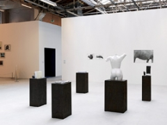 Vorne: Lily Reynaud-Dewar, Some objects blackened and a body too, 2011, Courtesy Mary Mary, Glasgow; hinten vlnr: Jochen Lempert, Symmetry and Architecture of the Body (Sponge & Flamingo), 1997-2005; Symmetry and Architecture of the Body (Horse), 1997-2005, Courtesy Projecte SD, Barcelona © ProLitteris, Ausstellungsansicht Palais de Tokyo. Foto: André Morin