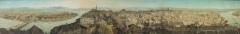 Anton Winterlin · Panorama der Stadt Basel vom Turm der Martinskirche aus (360°, Ausschnitt), um 1842, Feder, Aquarell