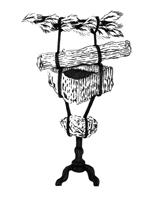 Leyla Goormaghtigh · Totem No 14, 2012, Chinatusche auf Papier, 100 x 70 cm