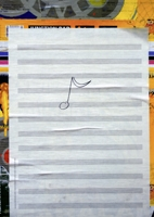 Christian Marclay · Graffiti Composition, 2002, Papier, Farbe, Bilder: 150 x 33 x 21,5 cm, Kassette: 35,35 x 24,1 x 7,6 cm