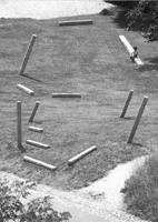 Kopf, 1984, Anamorphotische Installation im Merian Park, Brüglingen/Basel, anlässlich der Ausstellung ‹Skulptur im 20. Jahrhundert›, 1984, Laufener Kalkstein, 13 Elemente in verschiedener Grösse © ProLitteris. Foto: Pablo Stähli