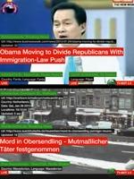 Marc Lee · TV Bot 2.0, 2010, Screenshot ©ProLitteris. Der aktuellste Fernsehsender der Welt sucht das Web laufend nach den neusten Meldungen ab und fügt diese auf dem Bildschirm nahtlos zusammen.