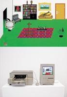 Hervé Graumann · Raoul Pictor cherche son style..., 1993. Der computergesteuerte Raoul Pictor malt nach einem Zufallsgenerator elektronische Bilder, die vom Drucker laufend ausgespuckt werden und mitgenommen werden können. Foto: Sonja Gasser