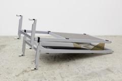 Ilona Rüegg · Drop out - Eleven 22, 2012. 2 Rahmenelemente und 2 Akustik-Wandpaneele von USM Haller. Plexiglas, roher Filz, Aluminium, 200x870x50 cm. Courtesy Galerie Mark Müller