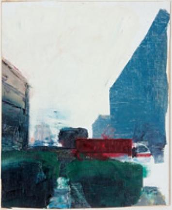 Gebäude und Lastwagen, 2012, Öl auf Leinwand auf Holz, 37x30cm