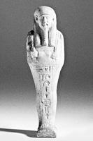 Uschebti (Totenfigur) mit Hieroglyphen u.a. eines Schreibers mit Schreibpinsel · Wassertöpfchen und Palette