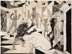 Friedrich Dürrenmatt · Minotaurus VII, 1984-1985, Illustration einer Ballade, Tusche auf Papier, 40x30cm, Courtesy CDN/Confédération suisse