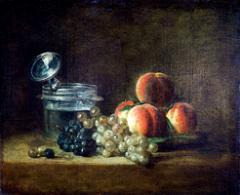 Chardin · Le panier des pêches, raisin blanc et noir, avec rafraîchissoir et verre à pied, 1759, Öl auf Leinwand, 38,5x47cm. Foto: Gérard Blot